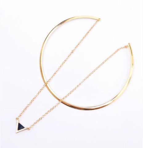 Necklaces - Gold Choker with Black Triangle Pendant
