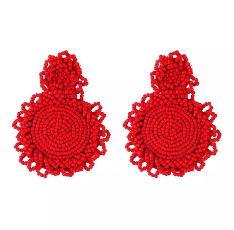 Earrings - Red Beaded Drop Earrings