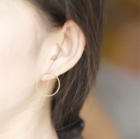 Earrings - Gold Circle and Bar Earrings