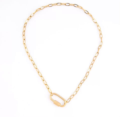 Necklaces -  Oval Lock Necklace