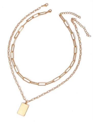 Necklaces -  Layered Necklace with Gold Plate 2 in 1