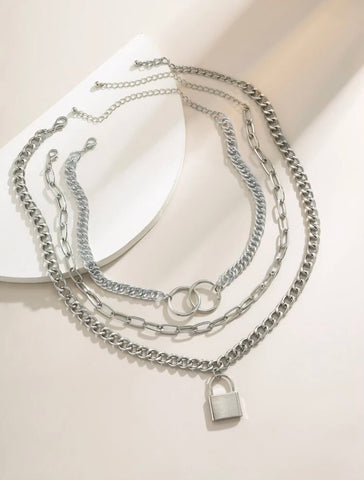 Necklaces - Silver Lock Charm Chain Necklace set - 3pc