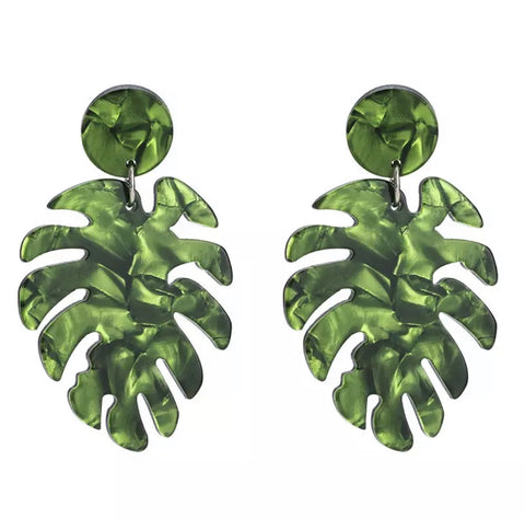 Earrings -  Tropical Green Leaf Earrings