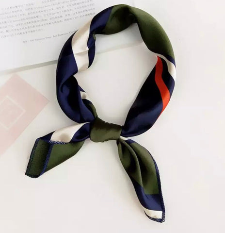 Scarves - Hunter Green & Dark Blue Stripe