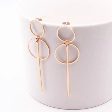 Earrings - Gold Double Circle Earrings