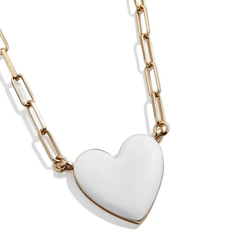 Necklaces -  White Heart Necklace