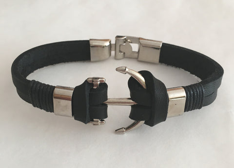 Men Bracelet - Black Leather Anchor Bracelet - 3just3