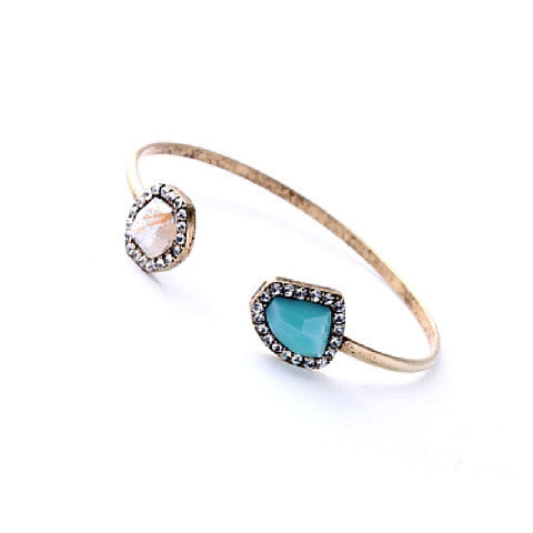 Bracelet - Double Stone Gold Bangles - 3just3 - 1