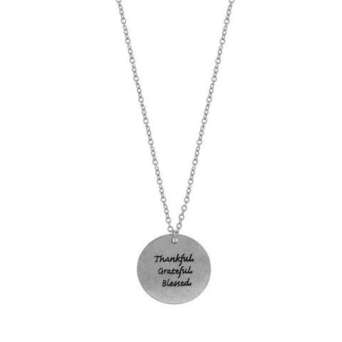 Necklaces -  Silver - Thankful Grateful Blessed - 3just3