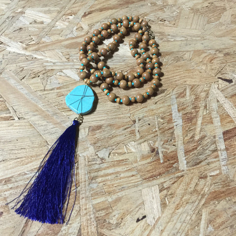 Necklaces -  Turquoise Bead Tassel - 3just3