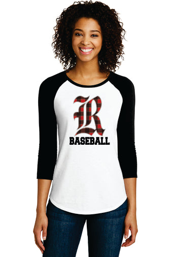 District ® Women's Fitted Very Important Tee ® 3/4-Sleeve Raglan (Old English R)