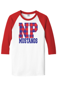 New Providence Mustangs 3/4 Buffalo Plaid Raglan