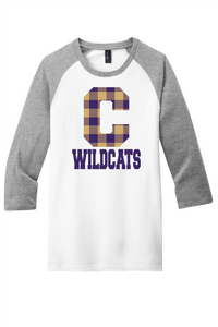 Clarksville Wildcats 3/4 Buffalo Plaid Raglan