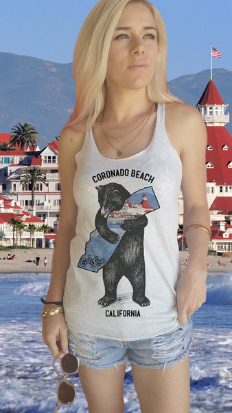 California Bear Hug (Choose your Location) Racerback Tank