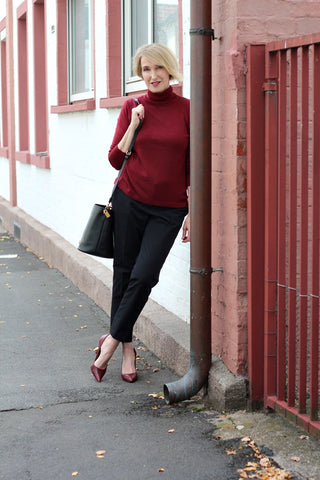 deep statement asneh pure cashmere sweater wine