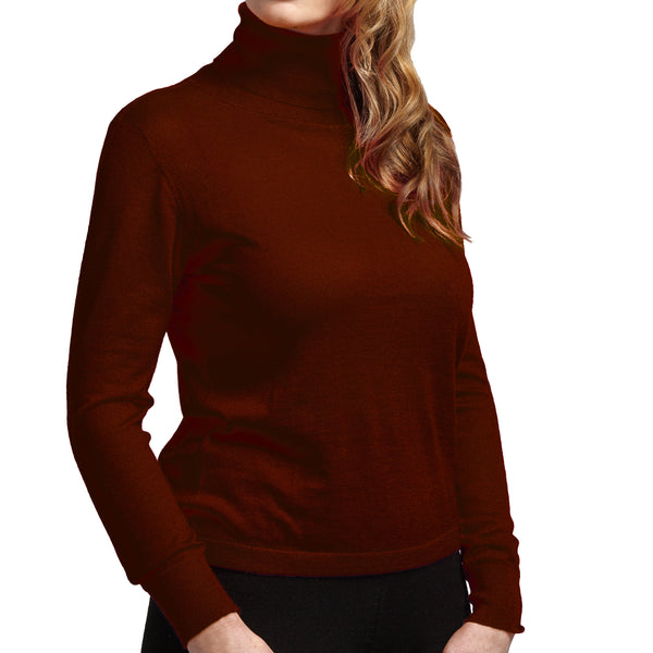 wine turtle neck pure cashmere sweater