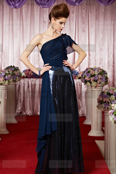Stylish Sequins Dark Navy Party Dress