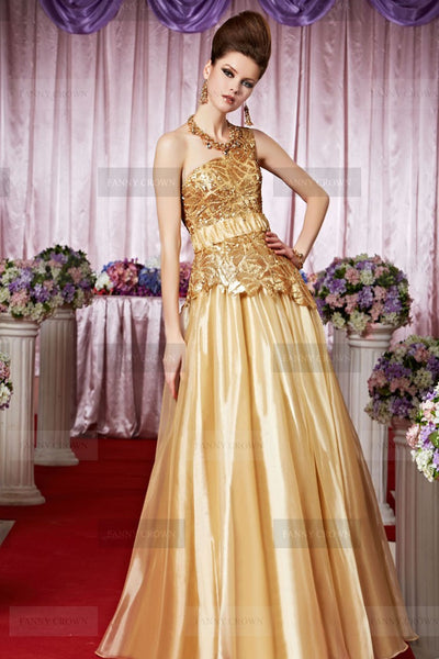 one shoulder evening gown handmade golden decor Ireland