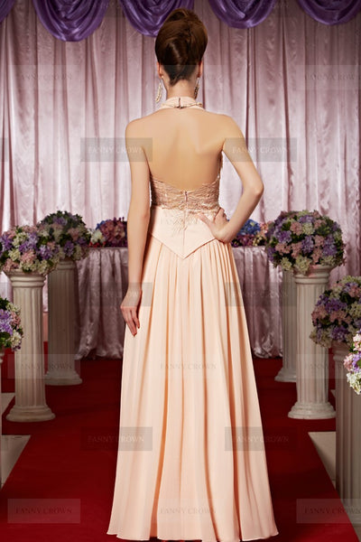 Breathtaking Halter Pearl Pink Sequins Party Dress