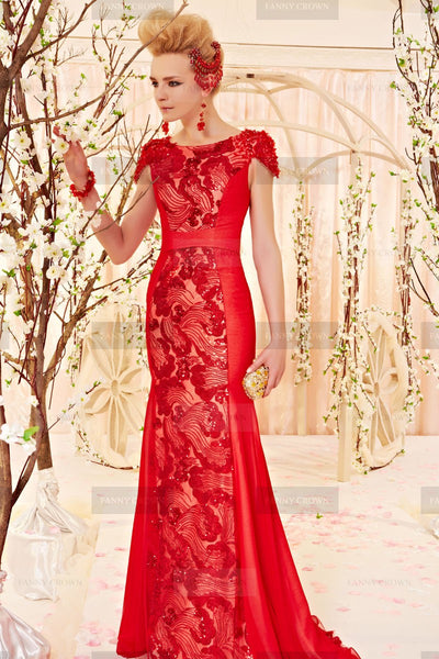 Flowing Bateau Ruby Lace Designer Dress