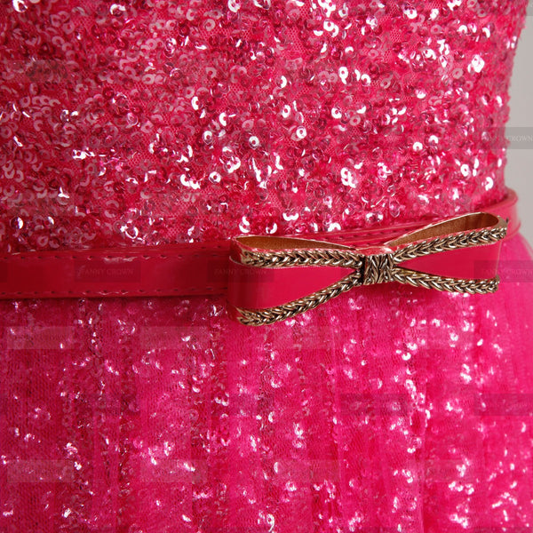 Fuchsia sequin one shoulder dress