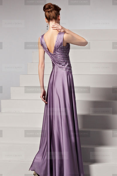 V-neck Lilac Beaded Evening Dress