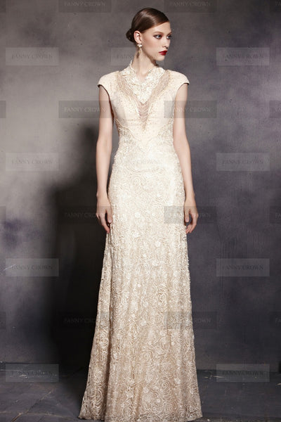 Impressive Lace High Neck Champagne Party Dress