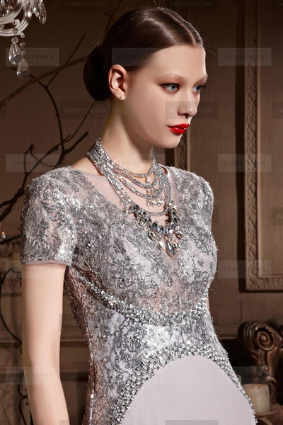 Old Hollywood silver sequin dress