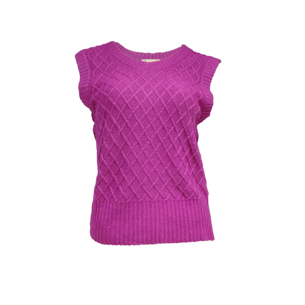 Cactus flower Florence sleeveless sweater with diamond pattern