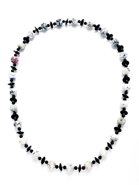 Chalcedony and Agate Statement Necklace - Black and White