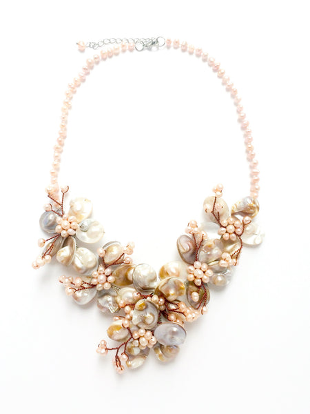 Pink Flower Pearl Collier Statement Necklace