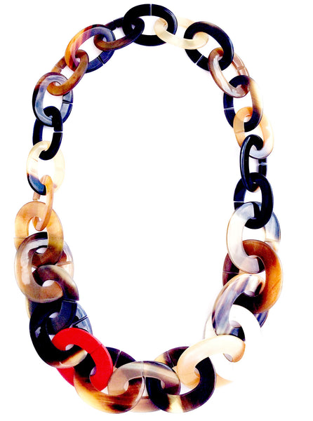 Red and White Chunky Horn and Lacquered Wood Chain Statement