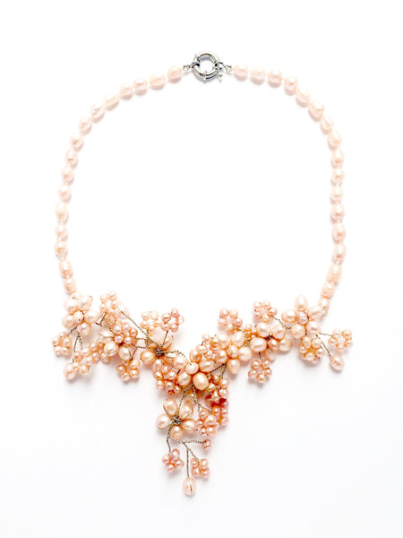 pink pearl collier statement necklace