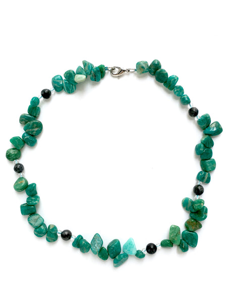 amazonite obsidian statement necklace