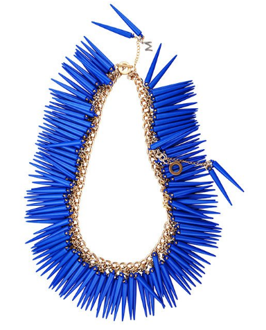 blue and 18 K statement necklace