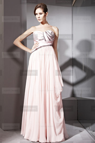 Strapless blushing pink dress