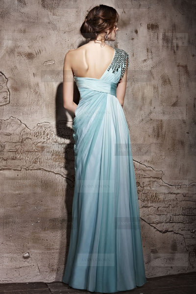 Chic One shoulder Long Sky Blue Prom Dress