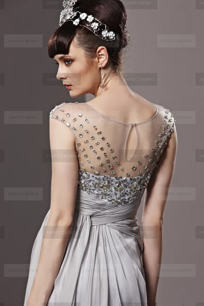 Charming Bateau Long Silver Prom Dress