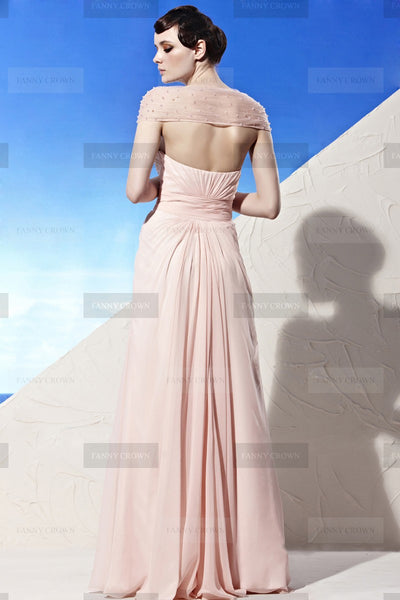 Fine V-neck Long Pearl Pink Evening Dress