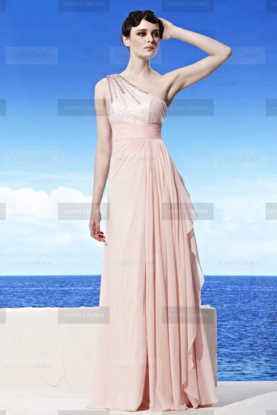 Lovely One shoulder Long Pearl Pink Evening Dress