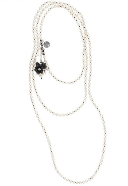 Black and White Coco 1920s Long Flapper Pearl Necklace