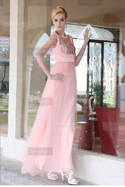 Spaghetti straps Long Blushing Pink Prom Dress
