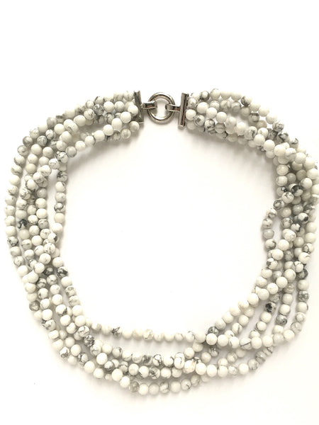 opal multistrand statement necklace white