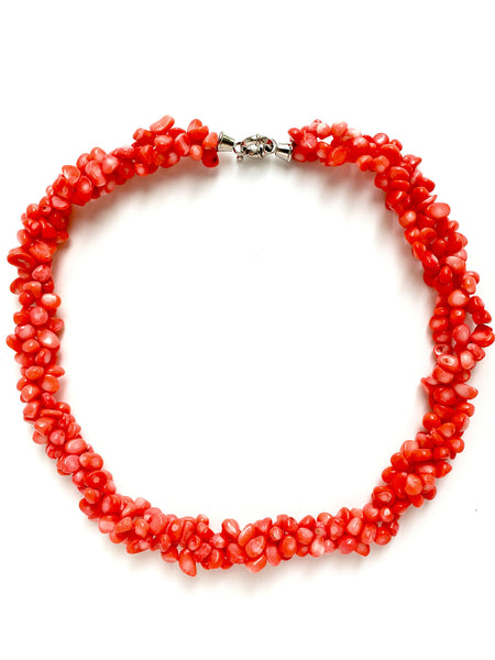 pink chunky statement necklace coral
