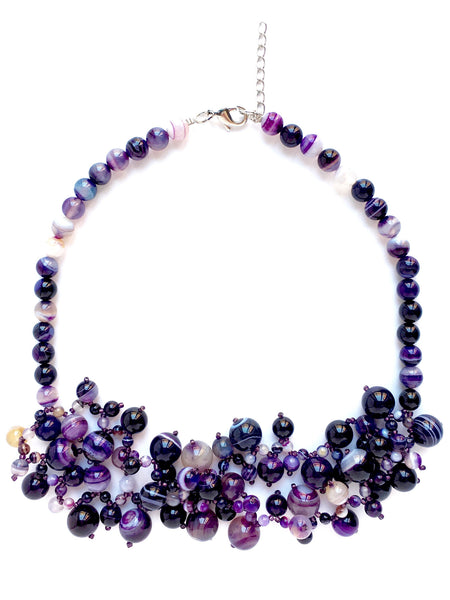 purple statement necklace chalcedony
