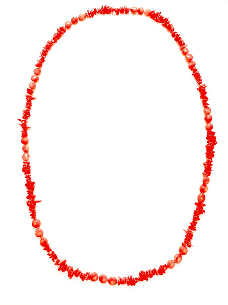 Long Coral Statement Necklace