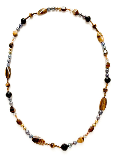 Tiger's eye, Gray Pearl and Agate Statement Necklace