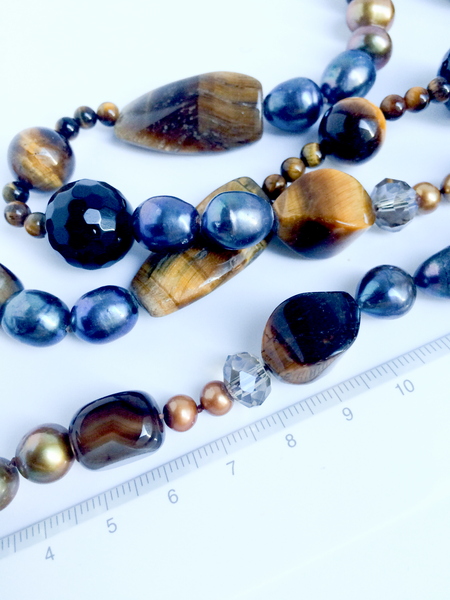 Tiger's eye, Gray Pearl and Agate Statement Necklace Large