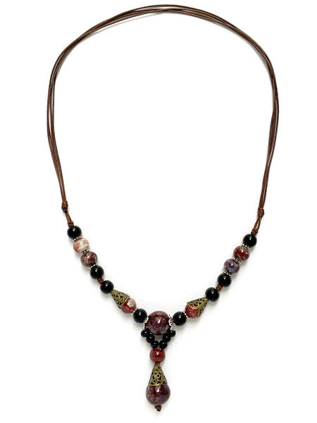wine colour indian statement necklace