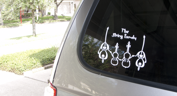 String family sticker on car side window